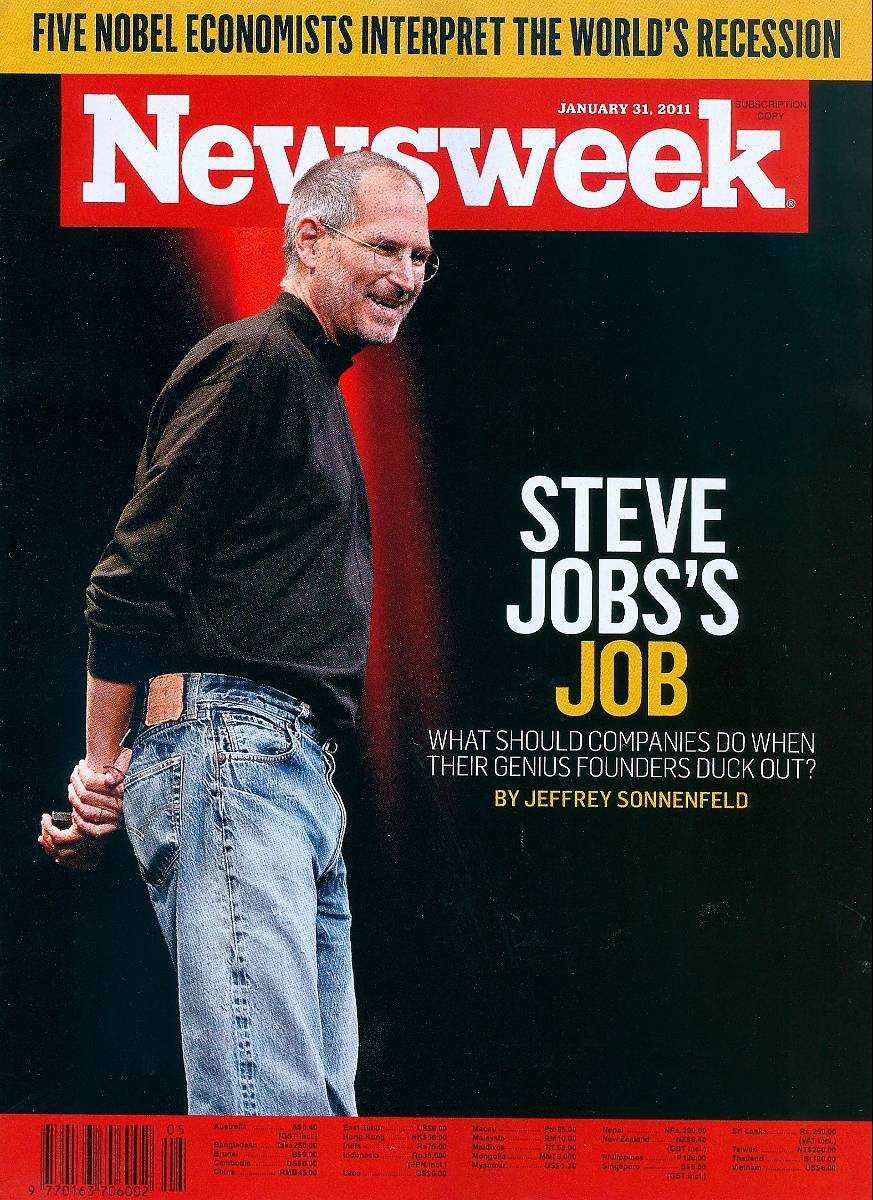 31 januari, 2011 Apple-grundaren Steve Jobs har prytt omslaget på Newsweek många gånger och hedrades med 72-sidig specialutgåva efter sin död 2011.