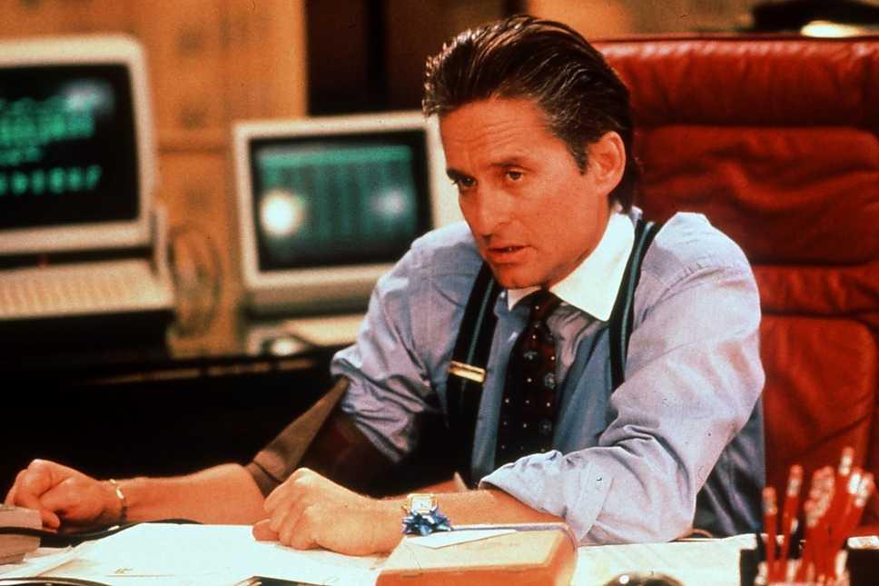 """1987 Douglas som börshajen Gordon Gekko i filmen """"Wall street""""."""
