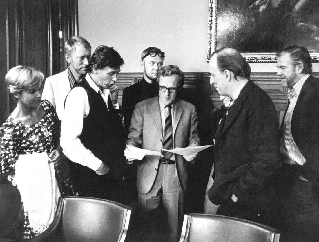 Kjell Grede tillsammans med Bibi Andersson, Max von Sydow och Ingmar Bergman.