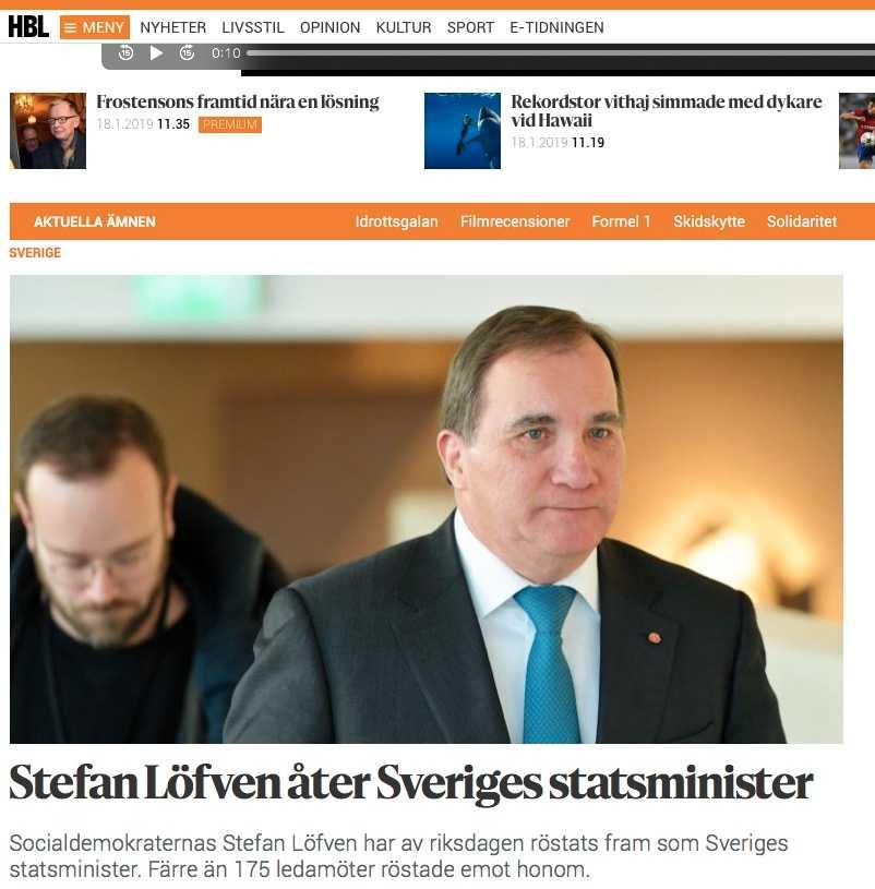 Finska Huvudstadsbladets artikel.