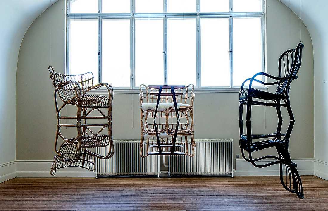 """Meta Isæus-Berlin, """"Den arkadiska spegeln"""", 2019. Installation, trä, textil, stål."""