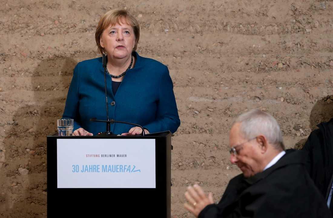 Tysklands förbundskansler Angela Merkel hedrar dem som kunde förena Öst- och Västtyskland sedan muren fallit. Men i ett personligt tal i en kyrka vid Bernauer Strasse, där muren var byggd, varnar hon för framtiden.