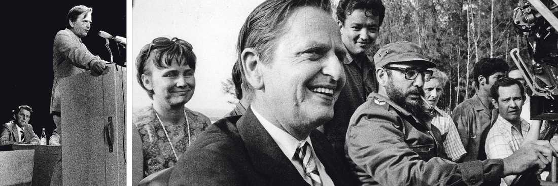 Många Ansikten Till vänster betraktas Olof Palme av antagonisten Thorbjörn Fälldin. Till höger tar makarna Palme en åktur med Fidel Castro vid ett besök på Kuba. En av Palmes styrkor var att han på ett naturligt sätt kunde röra sig mellan olika politiska arenor. Världen var allas angelägenhet.