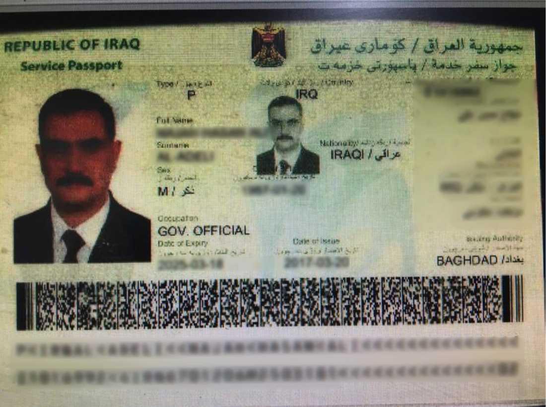 Mannens irakiska pass.