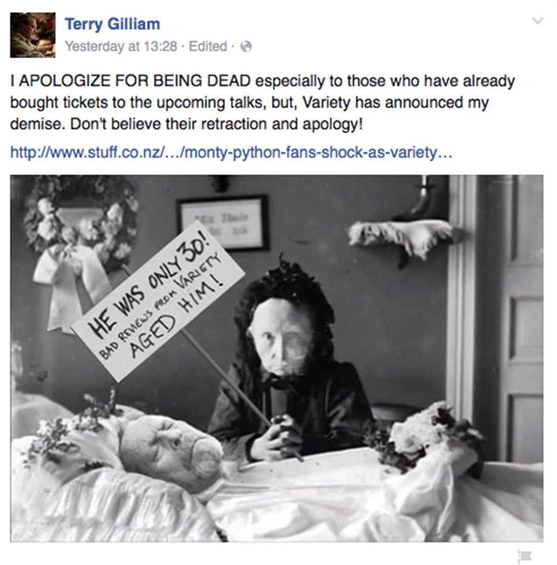 Terry Gilliams inlägg på Facebook.