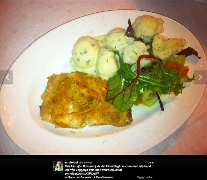 Annie Lööf la ut en bild på Twitter på middagen som Alliansen avnjöt i går.