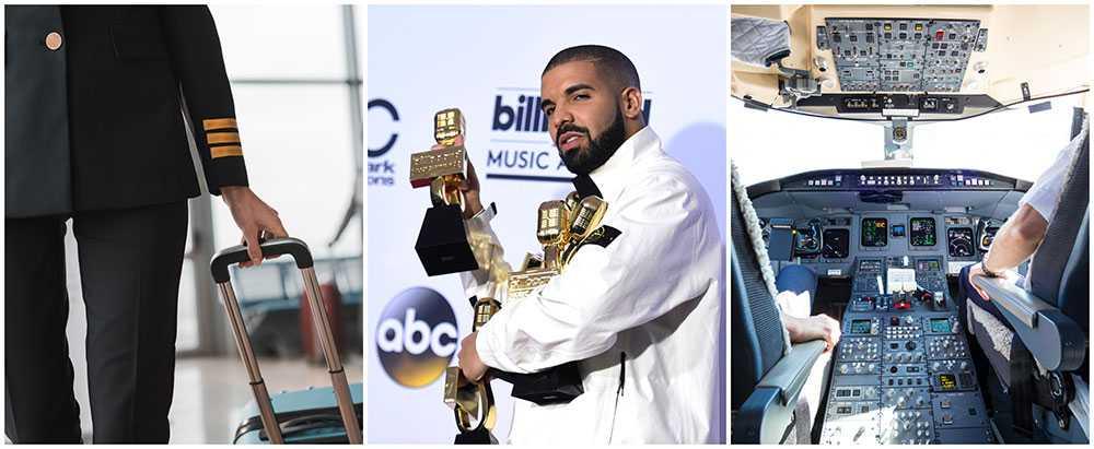 En pilot försökte sig på en Kiki Dance Challenge för att hylla artisten Drake.