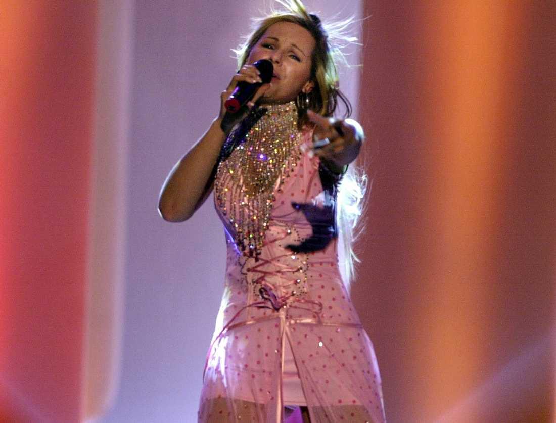 "2003 framförde Pandora (Anneli Magnusson) låten ""You"" i Melodifestivalens deltävling i Göteborg. Arkivbild."