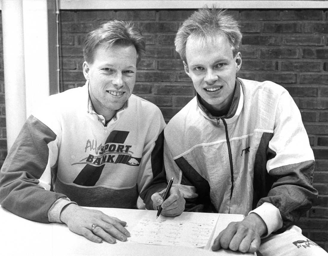 """Ulf Bengtsson och """"Tickan"""" Carlsson sättar i en V5:a"""
