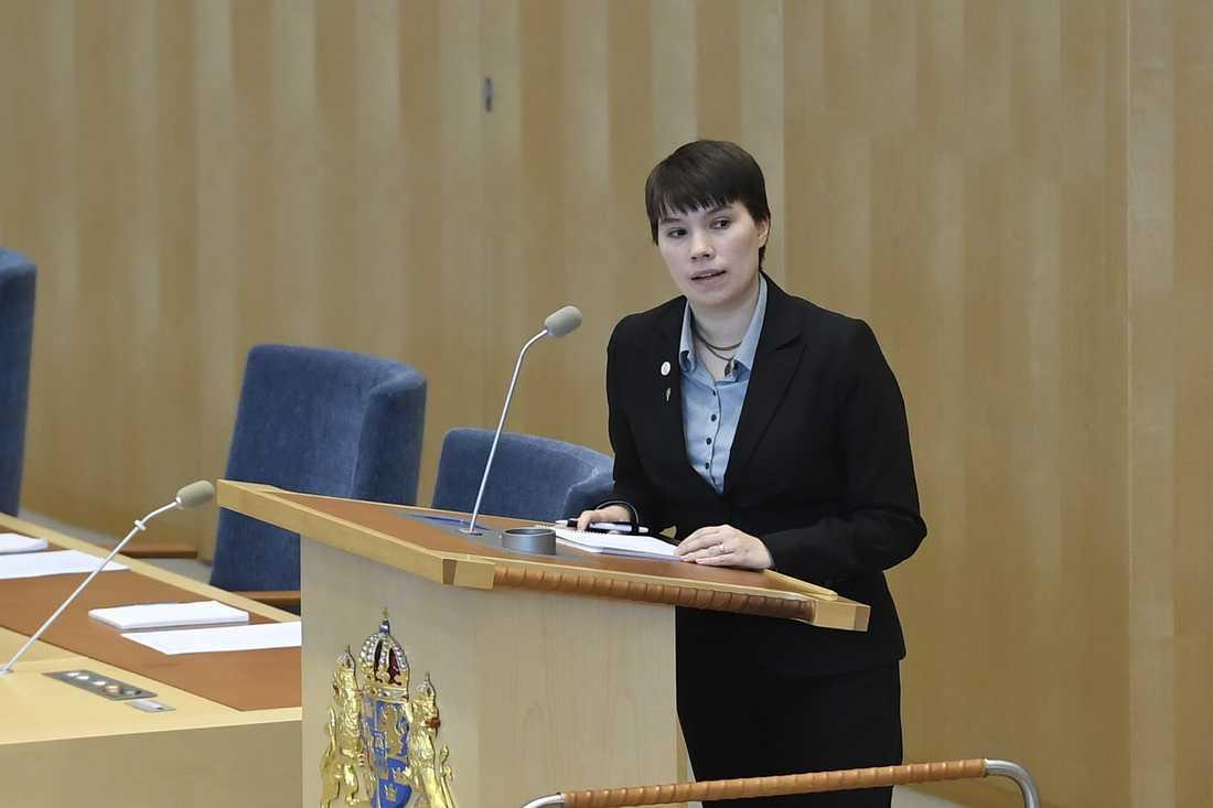 Annika Hirvonen Falk har valts till ny gruppledare för Miljöpartiets riksdagsledamöter. Arkivbild.