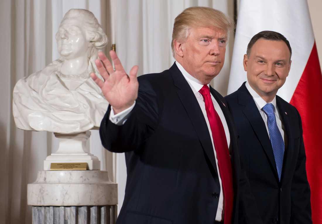 Donald Trump med polens president Andrzej Duda.