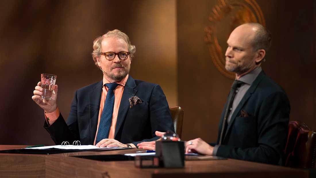 """Fredrik Lindström och Kristian Luuk i """"På spåret""""."""