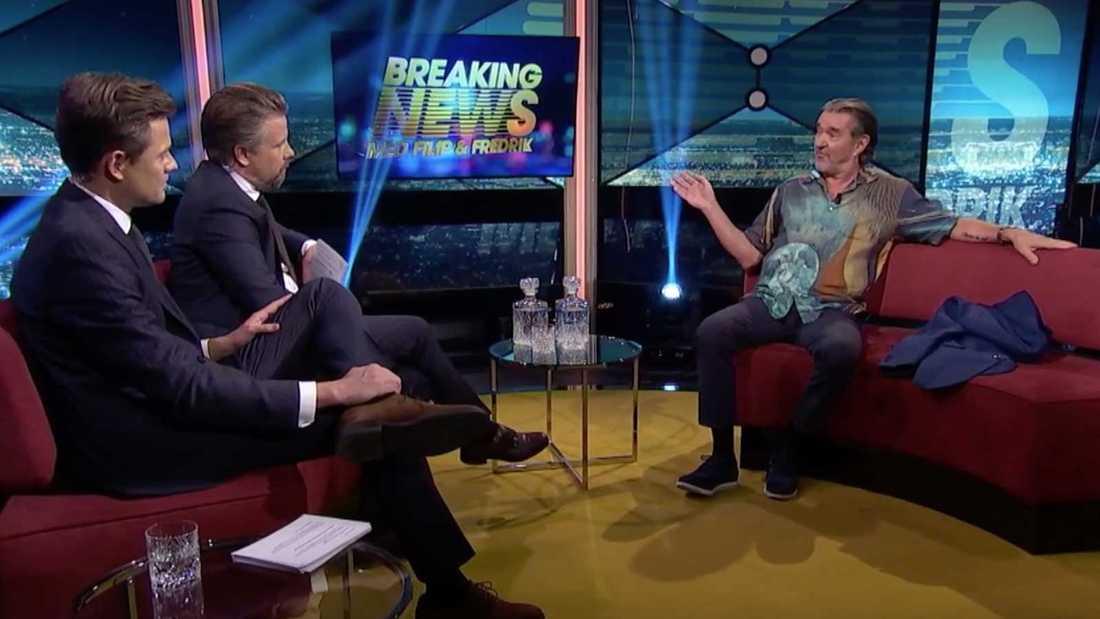 """Kjell Bergqvist hos Filip & Fredrik i torsdagens """"Breaking news""""."""