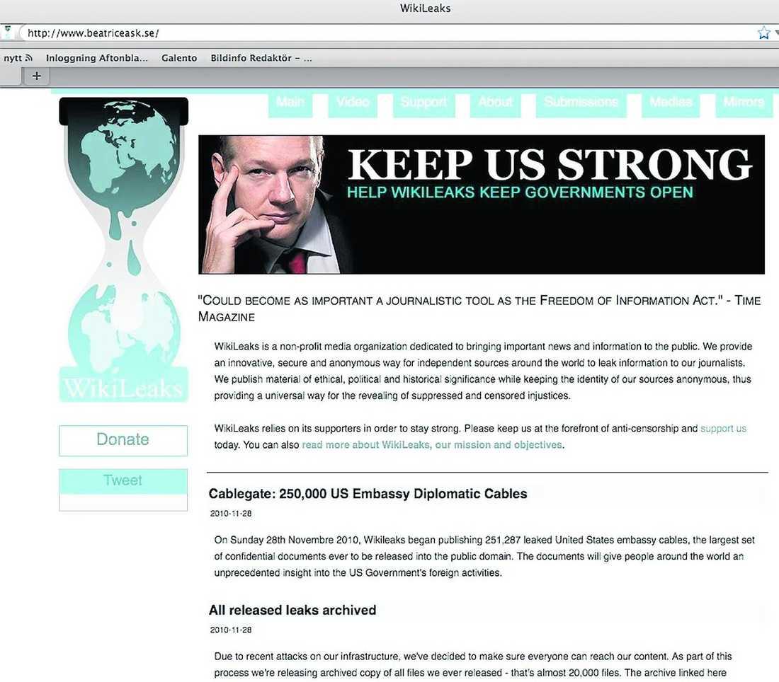 Beatrice Asks hemsida hackades och länkade till Wikileaks egen hemsida. Klicka på bilden för att se den större.