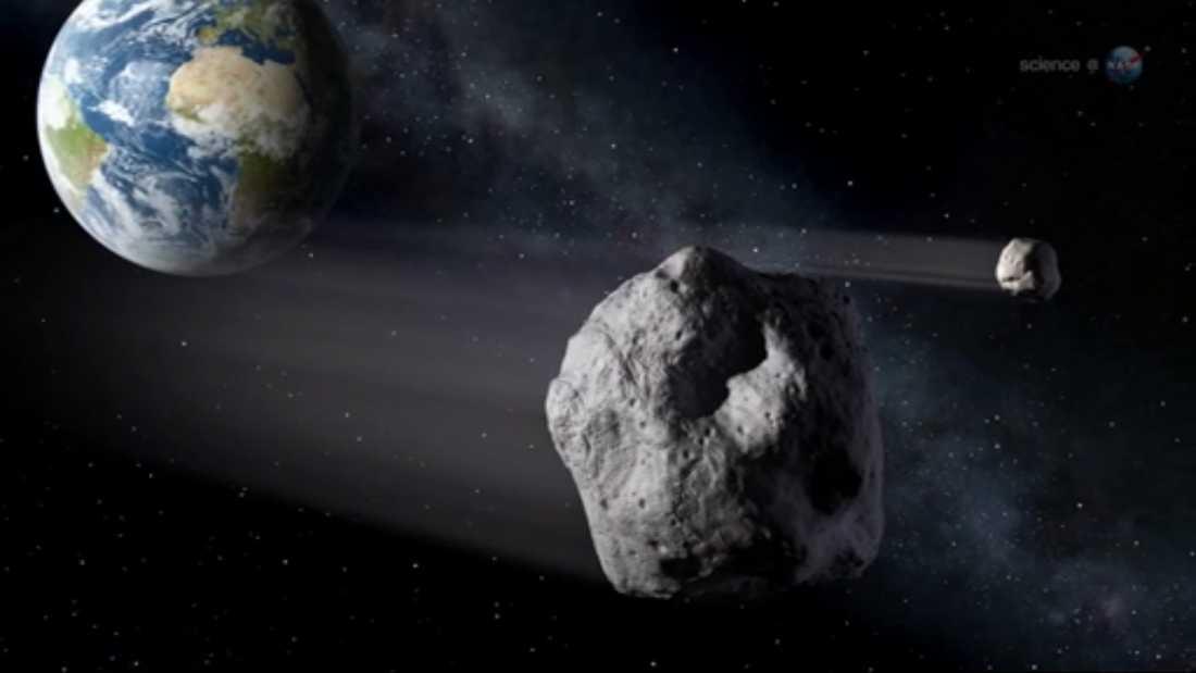 Asteroiden är ungefär 50 meter lång, enligt Nasa.