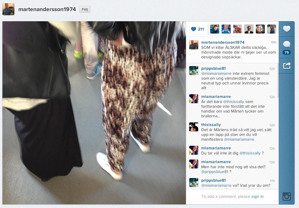 Bilden på Mårten Anderssons Instagram som skapade debatten.