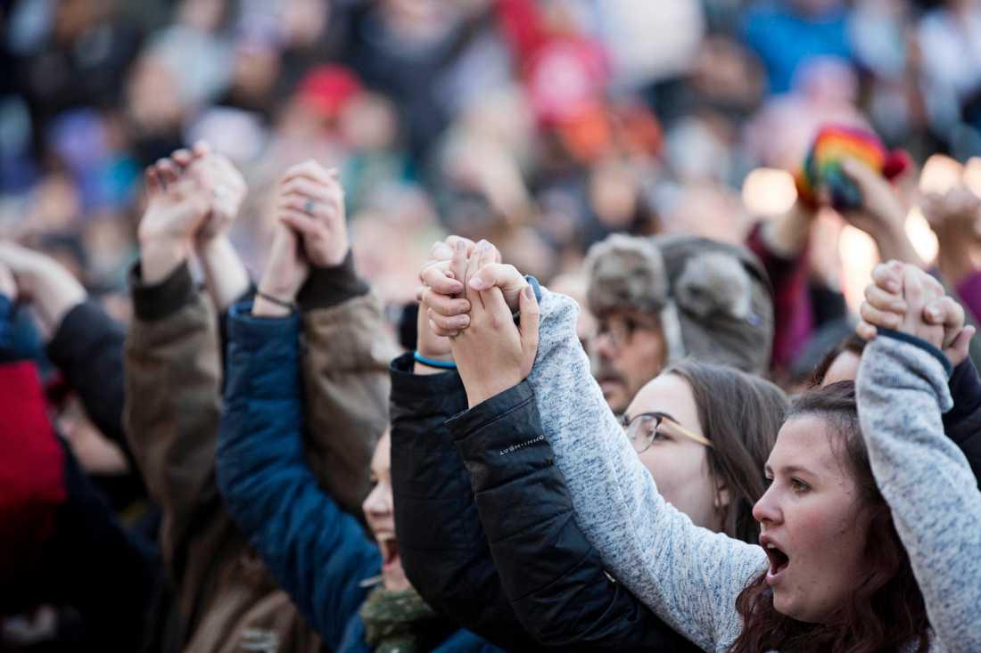Tusentals personer hade samlats för att lyssna på Greta.