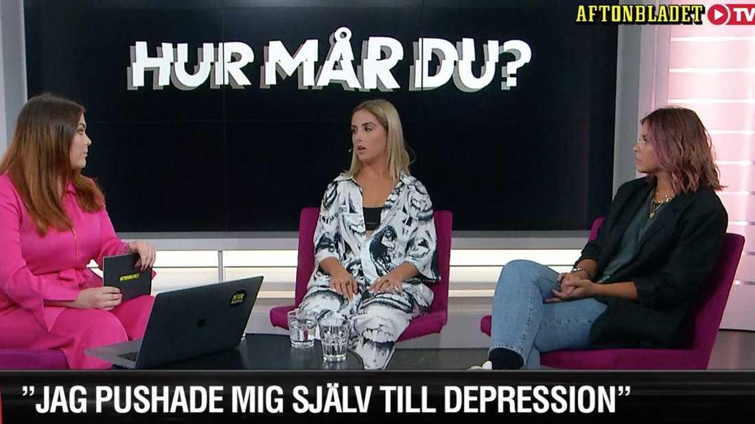"""Aftonbladets Frida Söderlund (till vänster) gästas av Isa Tengblad och Nicole Falciani i programmet """"Hur mår du?"""""""