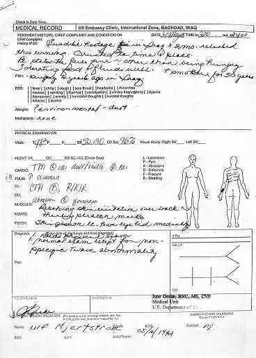 FÖRSTA RAPPORTEN Ulf Hjertström undersöktes av läkare på USA:s ambassad innan han flögs ut ur Bagdad. Enligt den första rapporten kom han in den 30 maj klockan 22.10 och skrevs ut 24.00. I dokumentet står det att Ulf Hjertström uppger sig må bra, utöver att han är hungrig. Trots den långa fångenskapen kunde han också orientera sig i tid och rum.