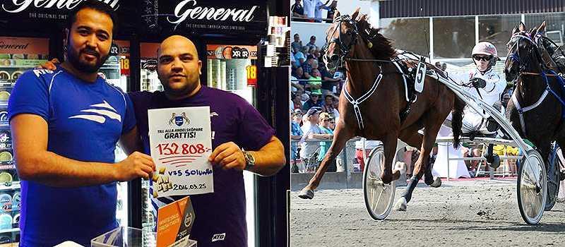 Kustens Spel i Göteborg vann mest av alla ombud i söndags på V75. På bilden syns Hamed som jobbar i butiken tillsammans med Mohammed Arefzadeh. På den vinnande kupongen valde de bland annat att spika Nancy America i V75-1.