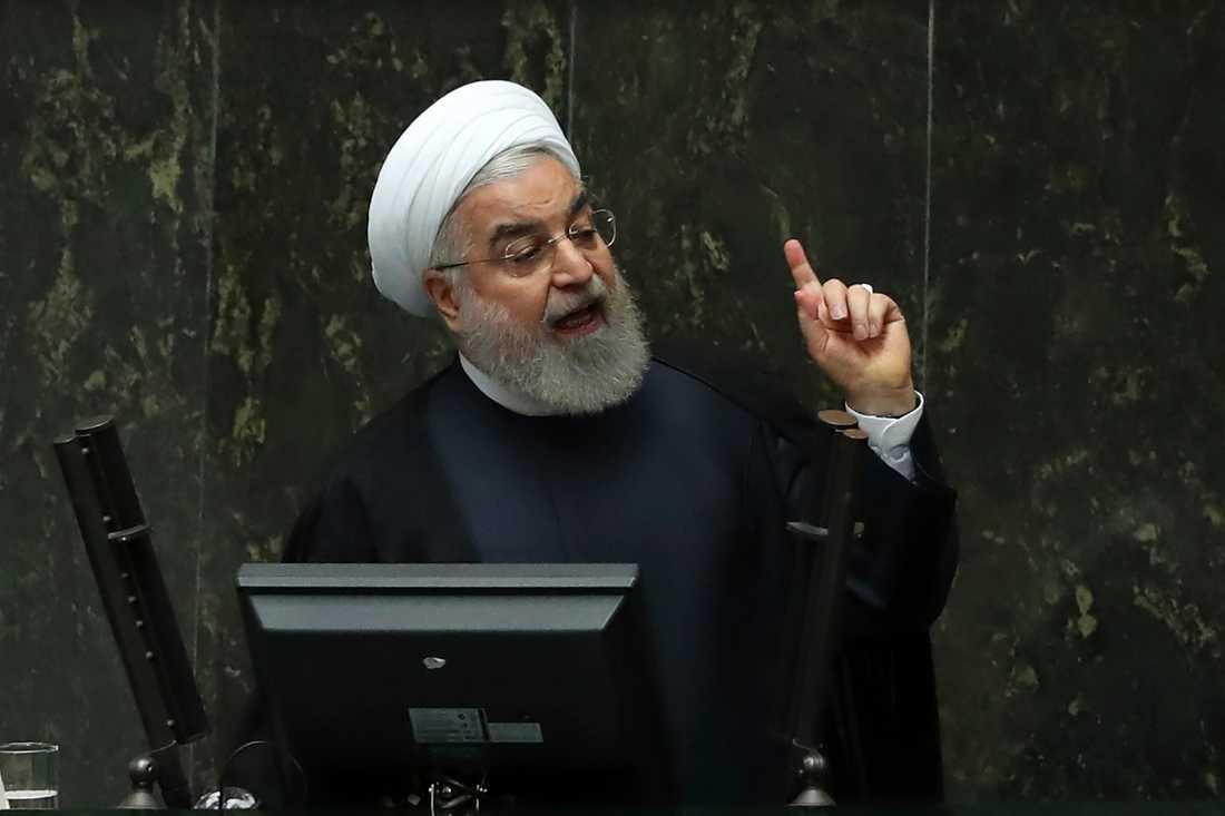 Irans president Hassan Rohani i parlamentet tidigare i veckan.