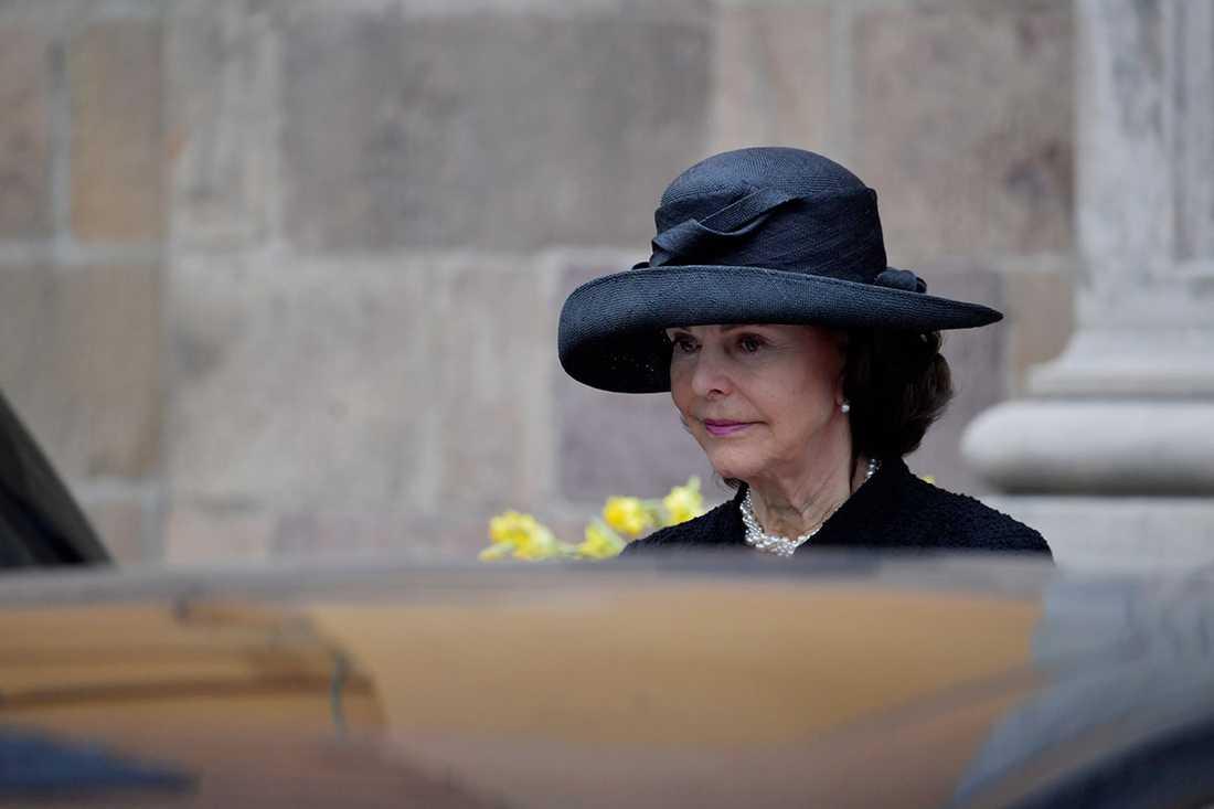 Drottning Silvia på begravningen.