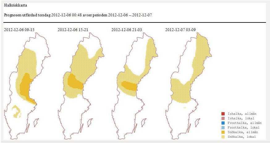Trafikverkets halkprognos. Det gula är alltså områden med lokal och allmän snöhalka. Ju mer gult, desto mer halt.