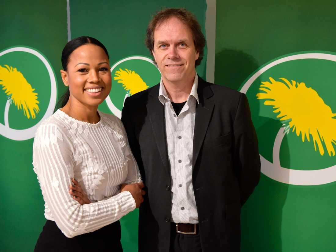 Tidigare kultur- och demokratiministern Alice Bah Kuhnke och Pär Holmgren, tidigare tv-meteorolog, ska toppa Miljöpartiets i årets Europaparlamentsval. Arkivbild.
