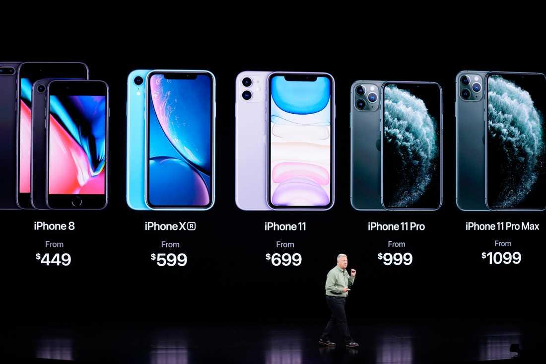 Apples Phil Schiller berättar om nya Iphone 11 Pro och Max under företagets presentation av nya modeller i San José i tisdags.