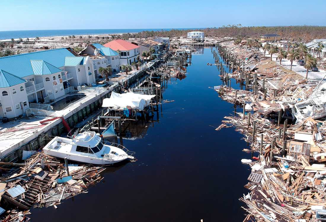 Förödelse i Florida efter orkanen Michael.
