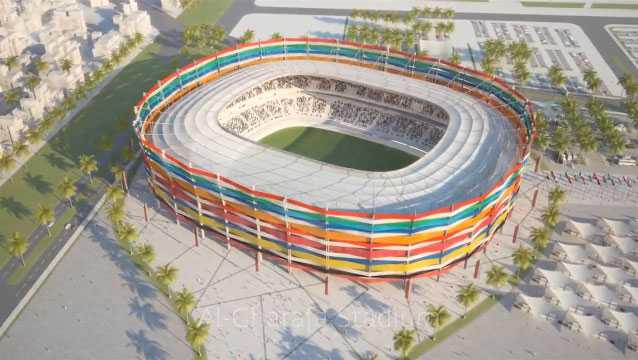 """Doha (Al Gharafa-stadion) +++ Invånare: 797 000. Arena: Rymmer i dag 25 000 personer, men ska byggas ut. Kapacitet: 45 000. Peter Halléns kommentar: """"Som sargen runt en trumma är fasaden flätad av remsor i all världens flaggors färger, en enkel och festlig idé som dock ekar något ihåligt. Stadion har en vacker form men den skapar onödig distans mellan åskådarna och planen."""""""