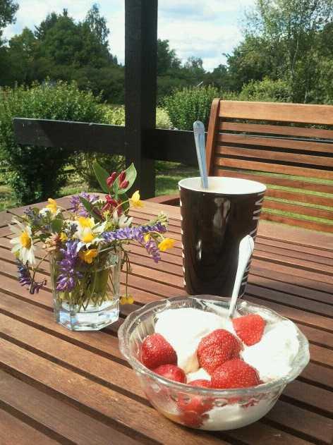 Midsommarfika En kopp kaffe, färska jordgubbar och glass blir finfint midsommarfika, tycker den här läsaren.