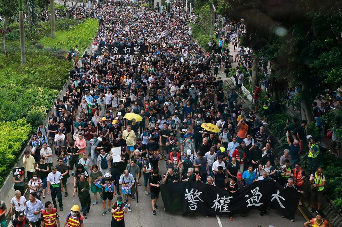 """Människor marscherar med en banderoll med texten """"Polisens makt är för stor""""."""