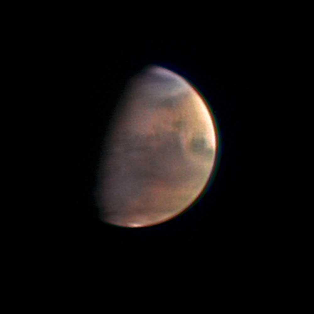 Planeten Mars sedd från 5,4 miljoner kilometer bort.