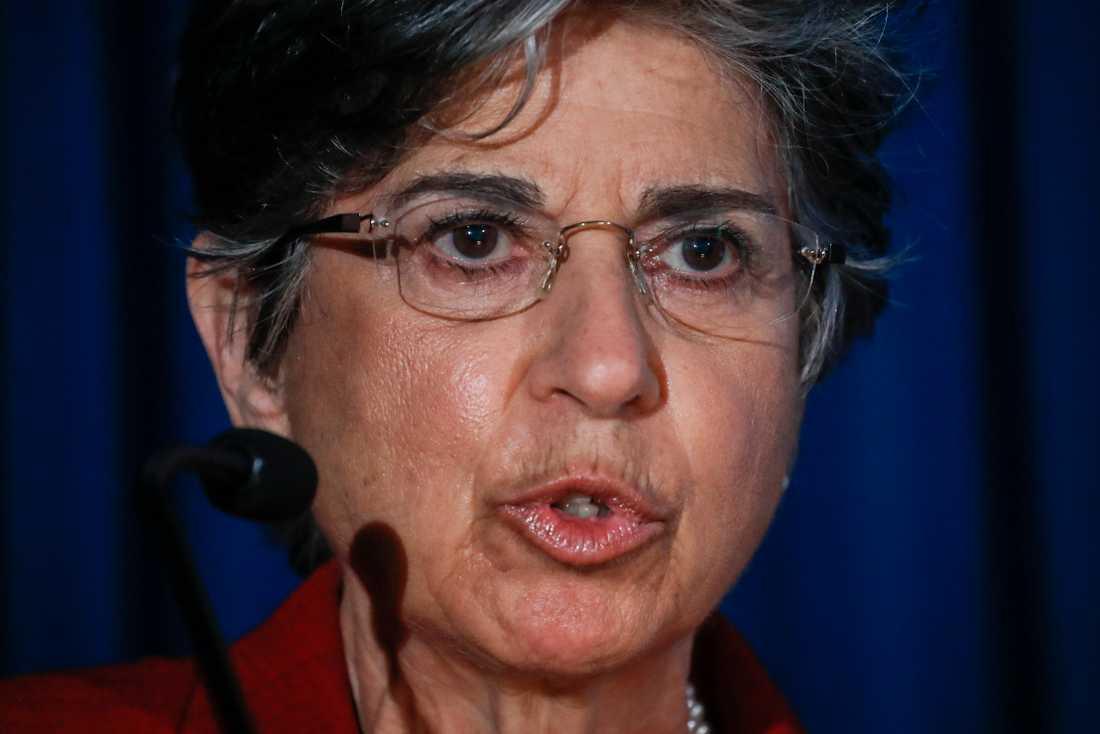 Åklagare Audrey Strauss under den presskonferens på torsdagen då åtalspunkterna mot Ghislaine Maxwell, tidigare partner till den avlidne sexbrottslingen Jeffrey Epstein presenterades.