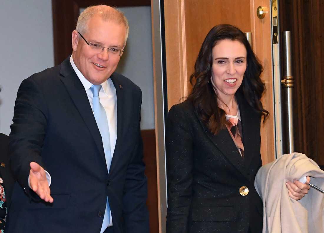 Scott Morrison och hans nyzeeländska kollega Jacinda Ardern, två av ledarna som deltar i Pacific Islands Forum. Bilden är från Melbourne i juli.