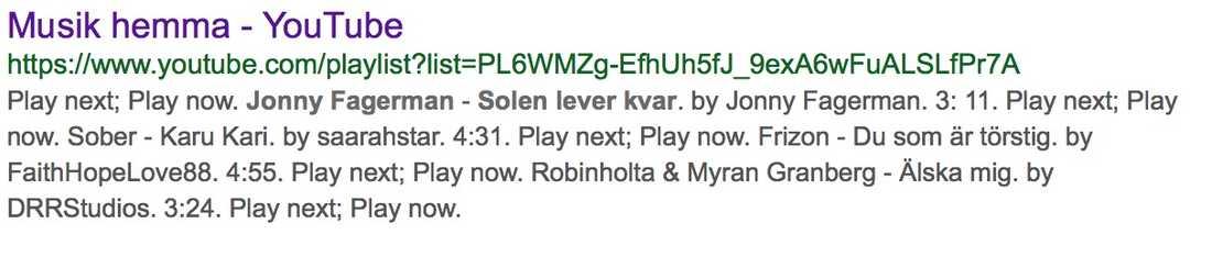 """Skärmdump från google-sökning som visar att låten """"Solen lever kvar"""" favoritmarkerats av Youtube-användare. Klippet har nu plockats bort."""