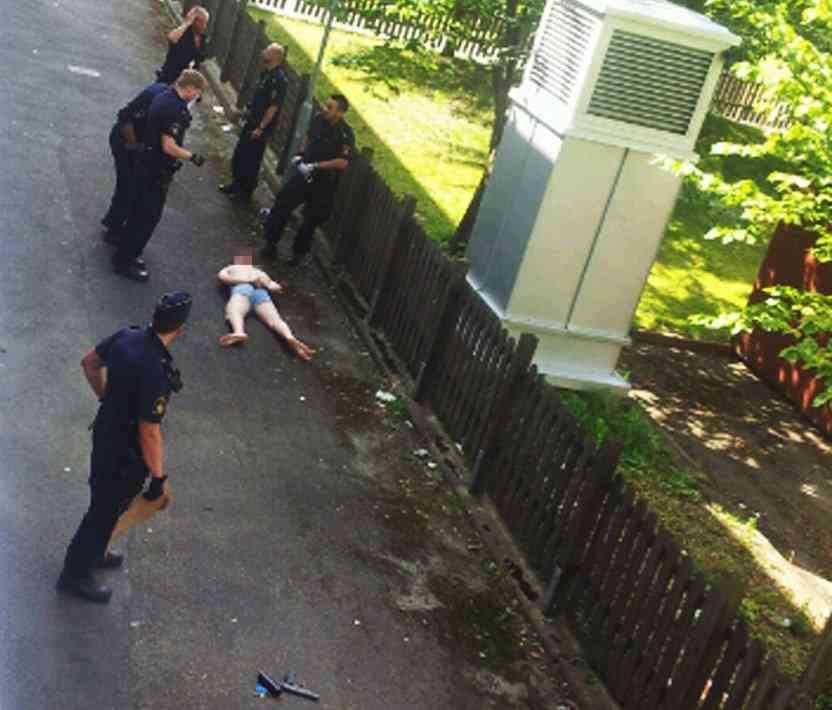Pojkvännen greps på gården utanför sin lägenhet