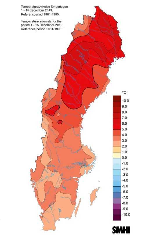 Kartan visar hur mycket medeltemperaturen från den 1 - 15 december 2019 avviker (i °C) från periodens normala medeltemperatur (medelvärdet 1961-1990). Analyserna bygger på observationer från cirka 200 stationer som dagligen rapporterar in temperaturer.