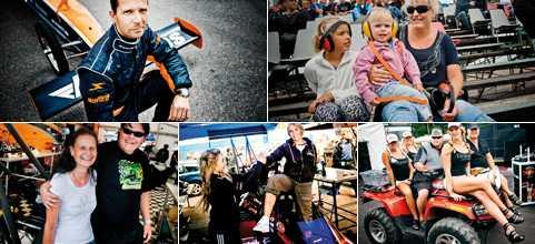 26 000 kommer till Mantorp Holländska Annemieke Kraay (översta till höger) följer racen från läktaren på Mantorp med stor entusiasm. Döttrarna Anouk och Nina har på sig de nödvändiga hörselskydden.