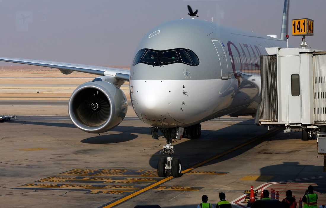 Det första planet från Qatar Airways på tre år landade på King Khalid Airport i Riyad i måndags. Arkivbild.