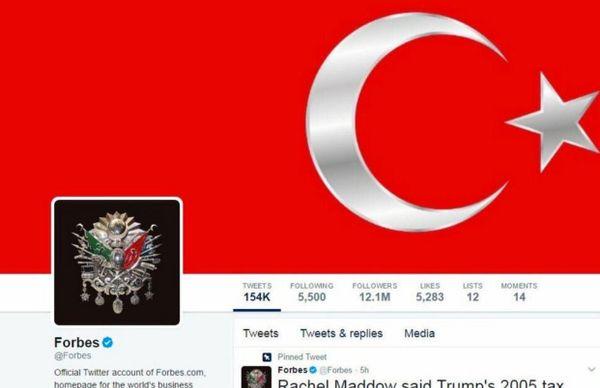 Forbes med hackad profilbild och bakgrundsbild. Profilbilden föreställer en symbol för Osmanska riket.