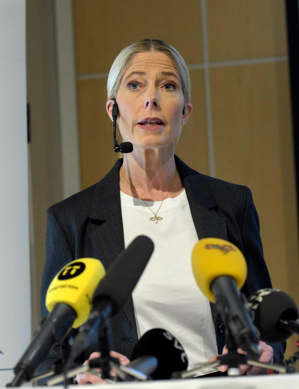 Maria Croon, vd Svensk Travsport vid dagens presskonferens.