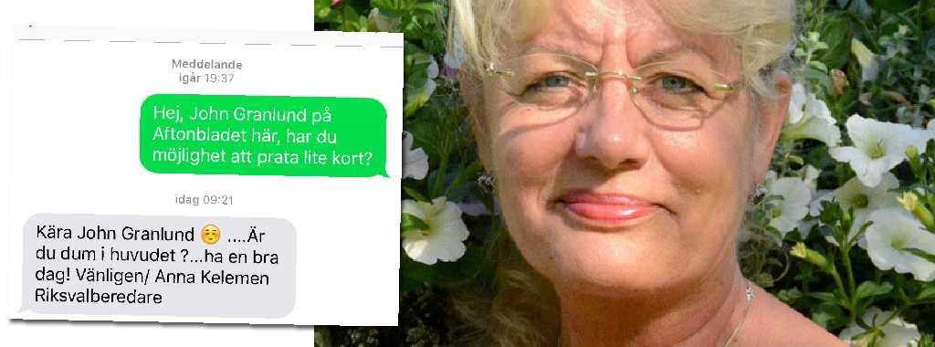 Anna Kelemens sms-svar till Aftonbladets reporter.