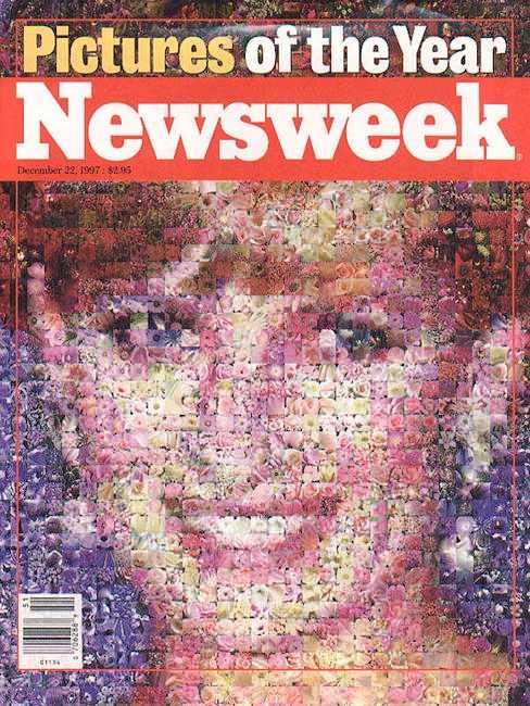 """22 december, 1997 Prinsessan Diana stöttes ut av kungahuset vid skilsmässan men """"The english rose"""" hyllades av folket ända till sin död i en trafikolycka i Paris 1997. Newsweek hedrade henne med en bild på omslaget – helt skapad med hjälp av små bilder på rosor."""