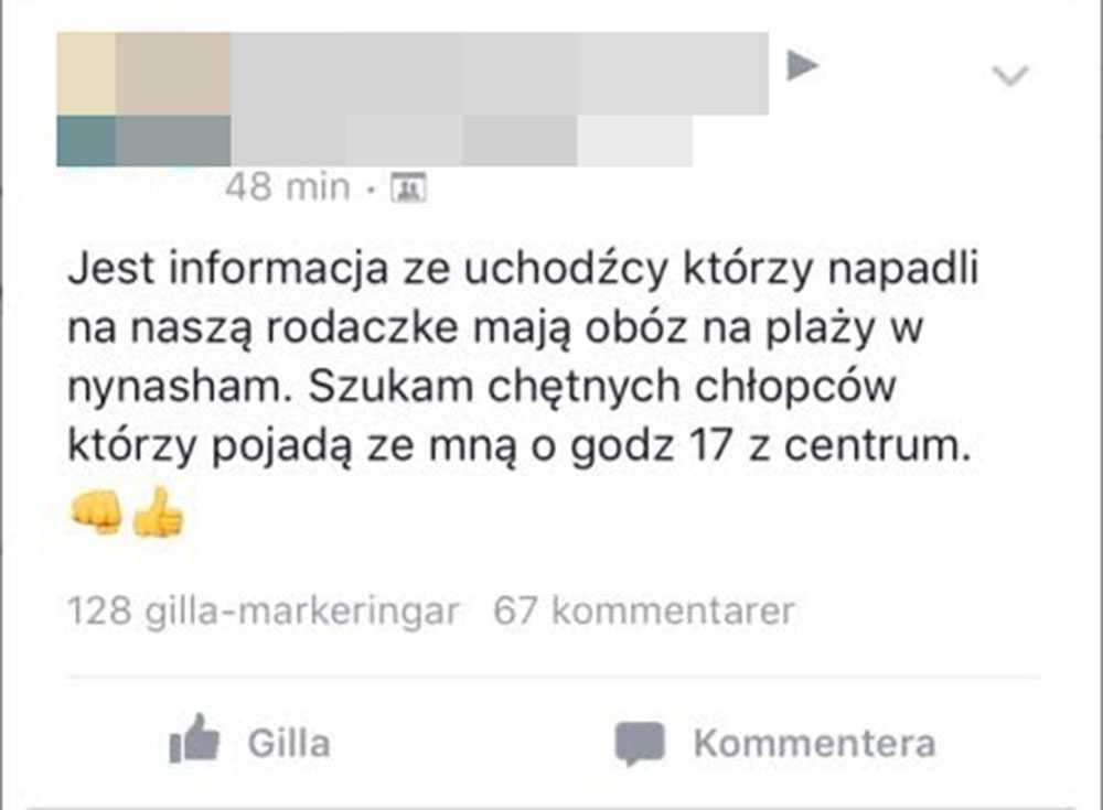 En av de nu gripna männen skrev ett inlägg i Facebook-gruppen.