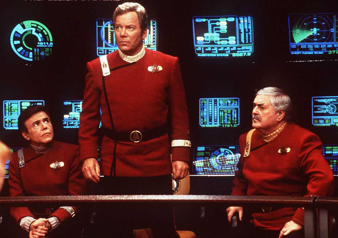 "Walter Koenig, William Shatner och James Doohan i ""Star Trek""."