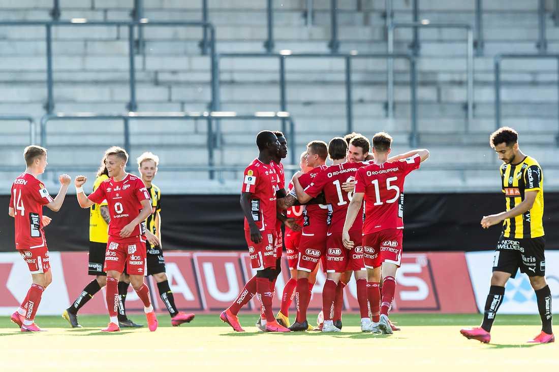 Elfsborg jublar efter det avgörande 1–2-målet.