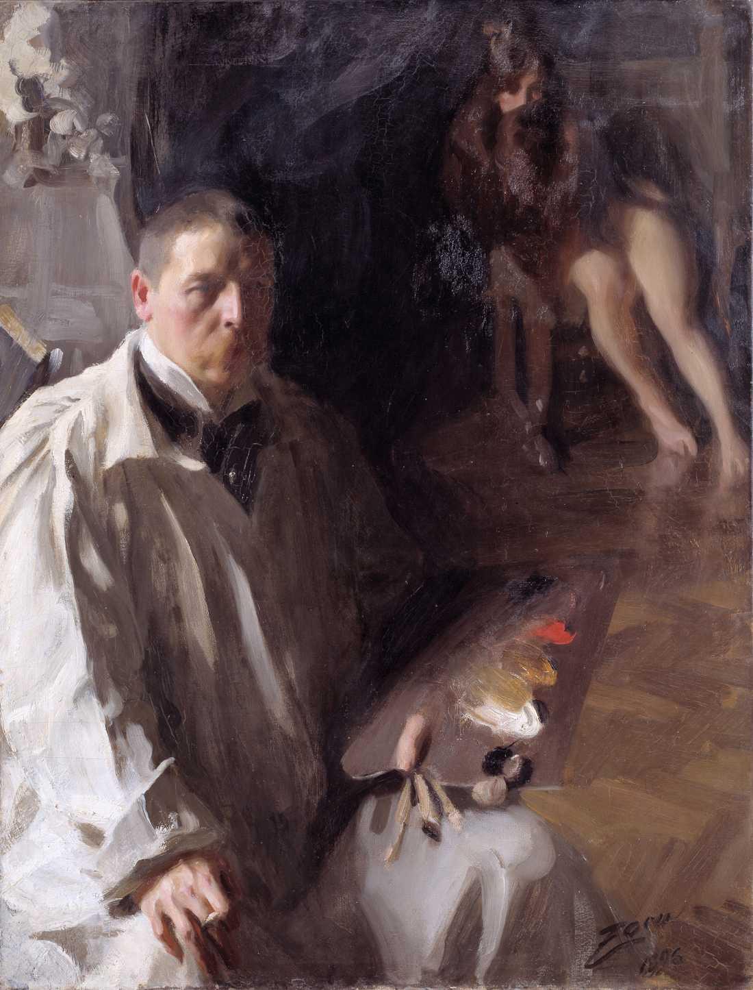 """""""Självporträtt med modell"""", 1896."""