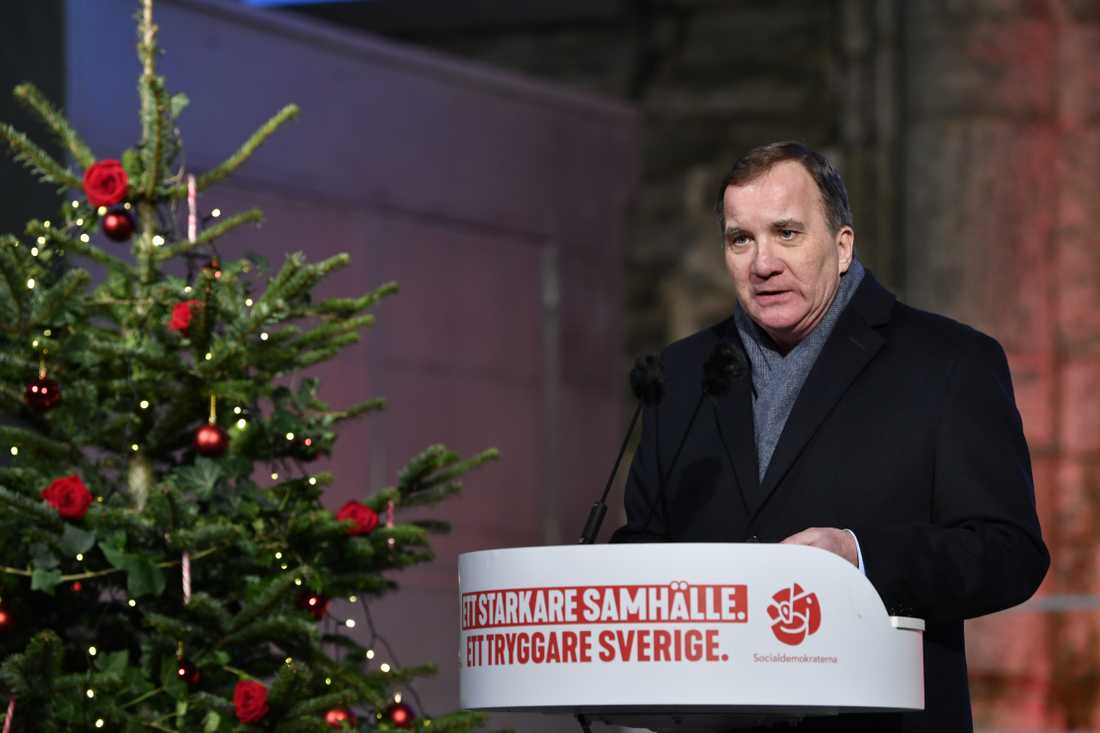 Stefan Löfven under sitt jultal i Visby.